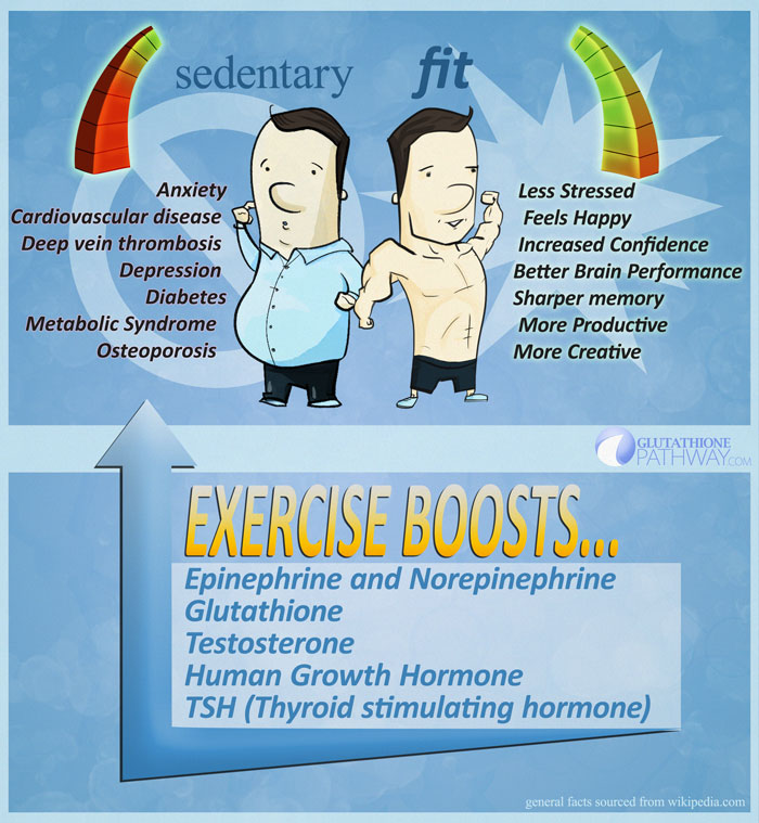 Sedentary vs. Fit - exercise can boost glutathione, testosterone, endorphins, human growth hormone, and more!
