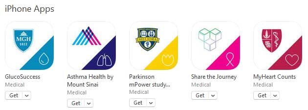 The first apps developed by medical institutions to bolster health research with smartphones.